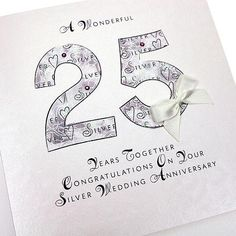 25th Wedding Anniversary Ideas For Mom And Dad : Handmade Silver Anniversary Card 25 Years Anniversary Greeting Card ...