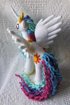 My Little Pony: Friendship is Magic - Princess Celestia Amigurumi. Perfect Christmas Gift for a MLP Fan! My Little Pony: Friendship is Magic - Princess Celestia Amigurumi. Perfect Christmas Gift for a MLP Fan! Poney Crochet, Crochet Pony, Crochet Unicorn Pattern, Crochet Horse, Crochet Animal Patterns, Crochet Baby Hats, Stuffed Animal Patterns, Crochet For Kids, Crochet Dolls