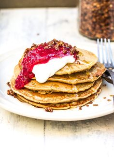 The best vegan Oat Pancakes from The Little Green Spoon. Serve with your favourite toppings for the perfect plant based breakfast!