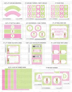 Printable DIY Pink and Green Bunny Rabbit Girl Theme Personalized SMALL Birthday Party Package. $20.00, via Etsy.