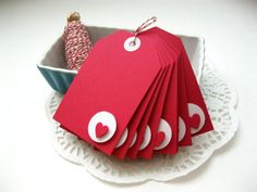 Red Heart Valentine Tags, Set of Valentine's Day Gift Tags, Large, Modern, Minimalist Vintage Valentines, Valentine Day Cards, Be My Valentine, Valentine Gifts, Valentine Poster, Handmade Gift Tags, Paper Tags, Christmas Gift Tags, Card Tags