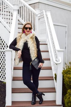 ff9ad8e939 Faux fur vest for winter date night- Boston Chic Party Baby Bump Style, Faux