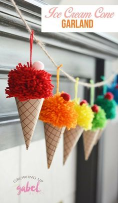 Make yarn pom poms and paper cones in to a bright and colorful DIY ice cream con. - Make yarn pom poms and paper cones in to a bright and colorful DIY ice cream cone garland. Cute Crafts, Diy And Crafts, Crafts For Kids, Kids Diy, Creative Ideas For Kids, Craft Ideas For Adults, Easy Crafts, Easy Diy, Art And Craft