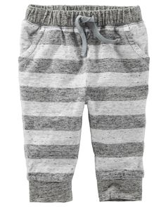 With soft, banded cuffs and yarn-dyed stripes, this laid-back pair is perfect for play. Bitty Baby Clothes, Baby Kids Clothes, Toddler Girl Outfits, Kids Outfits, Baby Boy Bottoms, Oshkosh Baby, Kids Fashion Boy, Boys Pants, Pretty Baby