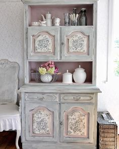 My new shabby chic dresser More pictures on my blog #newpostonmyblog #shabbychic #anniesloan #paintedfurniture #iodstamps #vintagestyle #roses #duckeggblue #pink #antoinette