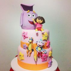 Ramon Serpa Dora Cake, Cake Structure, Minnie Mouse Cake, Cupcakes, Baking With Kids, Fondant Tutorial, Dora The Explorer, Birthday Parties, Birthday Cakes
