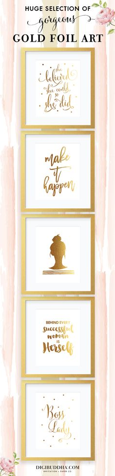 "Chic gold foil art prints in tons of gorgeous designs.  The perfect gift for your favorite girl boss & the perfect office decor to add a hint of gold.  All prints also available in silver foil as well, in either 5x7"" or 8x10"".  Check out these and SO many more gold foil posters at digibuddhashop.com.  