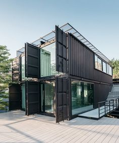 archimontage stacks shipping containers to form 'carcare' center in bangkok Building A Container Home, Container Buildings, Container House Plans, Container House Design, Shipping Container Home Designs, Shipping Containers, Shipping Container Office, Module Design, Container Shop