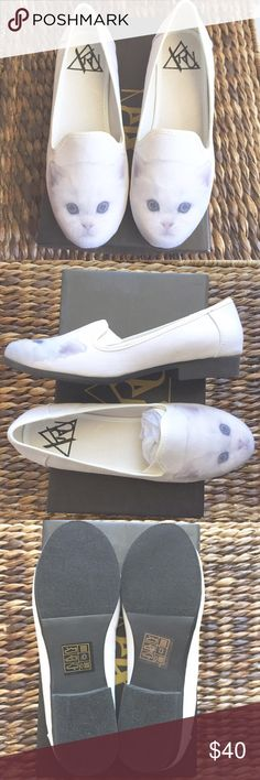 YRU White Cat Loafers  NWT White Cat Loafers from YRU, the purrfect pair for all cat lovers out there. I originally ordered 2 pairs online to see which would fit better, and ended up going with the larger pair. (I'm usually an 8 1/2 or 9, for reference!) I absolutely love the pair I own, they're comfortable and pair well with so many outfits. I unfortunately didn't return them in time, so now you can benefit from my mistake! Brand new with original box, never worn. Size 8 1/2.  YRU Shoes…