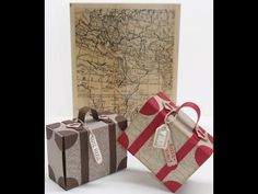 """ein Koffer mit Reiseproviant als Geschenkverpackung Suitcase for travel provisions with the background stamp """"World Map"""" Stampin Up, Stamp World, Surprises For Her, Diy And Crafts, Paper Crafts, Suitcase Packing, Envelope Punch Board, Exploding Boxes, Explosion Box"""