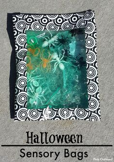 Halloween Sensory Bag - Great for your infant or toddler.  Use dollar aisle Halloween finds and put them in the bag!  A quick and cheap project for the little ones to explore- Pink Oatmeal