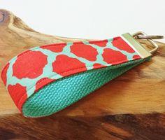 Wrist Key Chain - Key Fob Wristlet Keychain - Fabric Fob - Watermelon