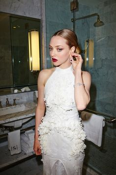 Amanda Seyfried getting ready for the 2015 Met Gala at The Surrey Hotel