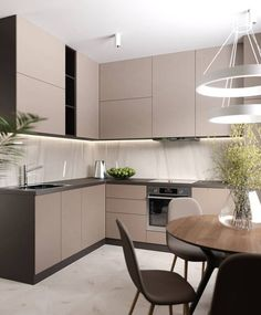 30 modern kitchen interior ideas to inspire you Kitchen Room Design, Kitchen Cabinet Colors, Modern Kitchen Design, Kitchen Layout, Home Decor Kitchen, Interior Design Kitchen, Modern Kitchen Cabinets, Home Kitchens, Fancy Kitchens