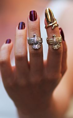 It would be cool to put the gold fingernail on your ring finger, but only if your band can get over it! #weddingmoon