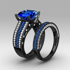 blue cubic zirconia with asscher cut black womens wedding ring set with 925 sterling silver