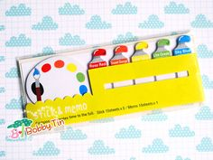 Cute Paint Palette Sticky Notes  Kawaii post-it notes by BobbyTin