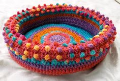 Pom-Pom Fun hand crocheted cat bed