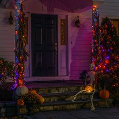 Solar Led String Lights, Solar Lanterns, Led Lantern, Outside Halloween Decorations, Outdoor Halloween, Halloween Party, Fall Decor, Holiday Decor, House With Porch
