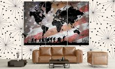 LARGE World Map USA Flag Patriotic Canvas Panel by CanvasFactoryCo