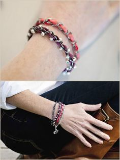 DIY Chain, Ribbon and Bead Bracelets. Love these so much - especially the one with the beads woven in. These are really simple, easy to do simple bracelets. Three bracelet tutorials from Fab You Bliss here.