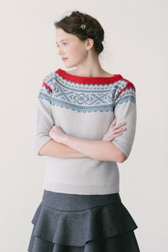ebba by dianna walla / in quince & co. chickadee, looks like the marius sweater Sweater Knitting Patterns, Knit Patterns, Geometric Patterns, Double Knitting, Hand Knitting, Fair Isle Knitting, Pulls, Knitwear, Knit Crochet
