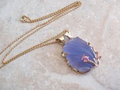 Carved Chalcedony Necklace Blue Natural Pink by cutterstone