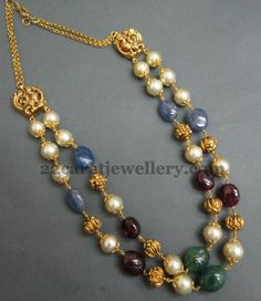 Round brown south sea pearls, blood ruby drops and emeralds, sapphire drops combination unique designer double layer beads necklace with ...
