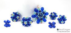 Cobalt and gold Raindrop Flower set - Cindy Holsclaw - Bead Origami