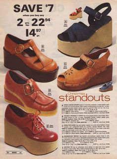 70's 'Standouts' all right. I'm sure I had the T-strap pair. And a lower version of the tie ones.