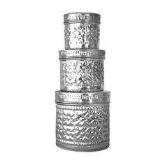 Brilliant Imports Aluminum Tin Set Silver By (1865 RSD) ❤ liked on Polyvore featuring home, home decor, storage & organization, silver home decor, silver home accessories and handmade home decor
