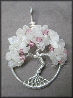 Cherry Blossom Tree of Life Pendant Rainbow by PhoenixFireDesigns