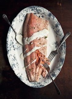 Poached Ocean Trout with Tarragon, Lemon and Champagne Sauce