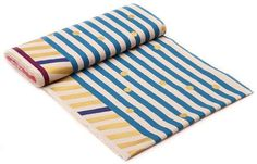 echino natural color canvas fabric blue gold stripe dots from Japan 3
