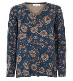 Ornamental Rose Print Tunic Jumper by Tulchan - lower hip length and a luxuriously cotton and merino wool blend, featuring a pretty rose print. Pretty Roses, Winter Warmers, Wool Blend, Jumper, Tunic, V Neck, Blouse, Sweaters, Cotton