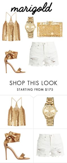 """""""Gold"""" by josipa-radman ❤ liked on Polyvore featuring TIBI, MICHAEL Michael Kors, Gianvito Rossi, R13 and Charlotte Olympia"""