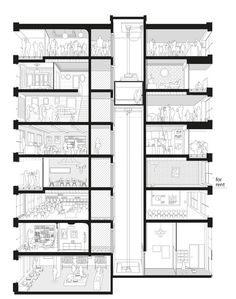 40 Housing Units,Section Perspective