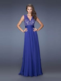 A-line/Princess Escote En V Sin Mangas Floor-length Lace Gasa Dress