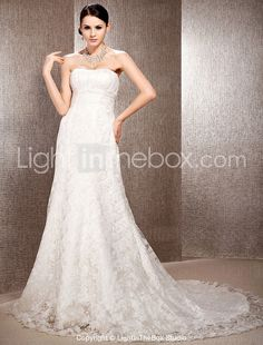 A-line Sweetheart Court Train Lace Organza Wedding Dress - USD $ 296.99