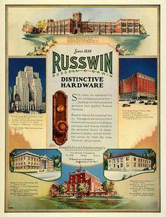 1926 Ad Russell Erwin Mfg Co Harrison School Grand Rapids MI Russwin Art Deco Period, Art Deco Era, Door Handle Sets, New Britain, West Lake, Print Ads, 1920s, Illustration Art, Hardware