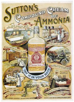 "Vintage Ad for Sutton's Compound Cream Ammonia: ""Try it in your morning bath, removes that tired feeling. Pub Vintage, Vintage Labels, Vintage Ephemera, Vintage Signs, Vintage Images, Old Advertisements, Advertising Signs, Vintage Prints, Vintage Posters"