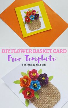 Diy Crafts : Illustration Description This flower basket card is so beautiful and easy to make. It's a perfect card to make for Mother's Day! I love that it has that beautiful and sweet appeal. – Design Dazzle Crafting is just…Fun! Kids Crafts, Diy And Crafts, Paper Crafts, Diy Flowers, Paper Flowers, Flores Diy, Mother's Day Projects, Welcome Card, Create And Craft