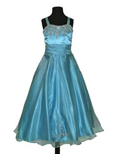 Tiffany Princess 13272 Beaded Organza Girls Pageant Ball Gown Dress, Turquoise, 6