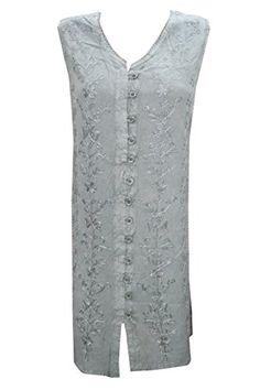 #dress #summer #beach #tunic Womens Tunic Dresses Grey Embroidered Sleeveless Shift Dr... http://www.amazon.com/dp/B015RBWOD2/ref=cm_sw_r_pi_dp_wqZkxb0Z0Q4BT
