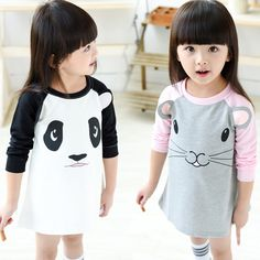 Autumn Kids girl clothes dresses 2016 Cartoon mouse panda girl Kids clothes dresses Autumn brand Kid clothes dress for girl baby