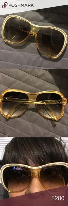 Vintage Christian Dior Sunglasses One of a kind large vintage Christian Dior Sunglasses. Gold frame brown lenses. Comes with case. Christian Dior Accessories Sunglasses