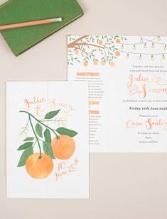 Bespoke Illustrated Spanish Orange Grove Wedding Invitation   by Wolf Whistle Studio, London   Gatefold format, custom logo, illustrated map and hand-lettering.