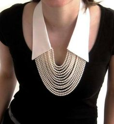 No shirt anymore, only the collar !- No shirt anymore, only the collar ! Love this! – No shirt anymore, only the collar ! Love this! Jewelry Accessories, Fashion Accessories, Jewelry Design, Fashion Jewelry, Fashion Necklace, Fabric Jewelry, Beaded Jewelry, Jewelry Necklaces, Pearl Necklaces