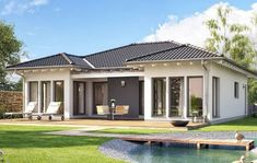 Haus-Bild: Evolution 100 A Modern Small House Design, Contemporary House Plans, House Front Design, Modern Bungalow House, Bungalow House Plans, Courtyard House Plans, Facade House, House Plans South Africa, One Storey House