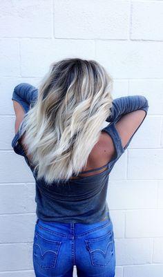 Dark roots to platinum blonde